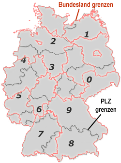 Plz Karte Bayern.Postleitzahlen In Bayern Bundesland